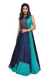 Tithi Texofab Blue Bangalore Silk Dress Material