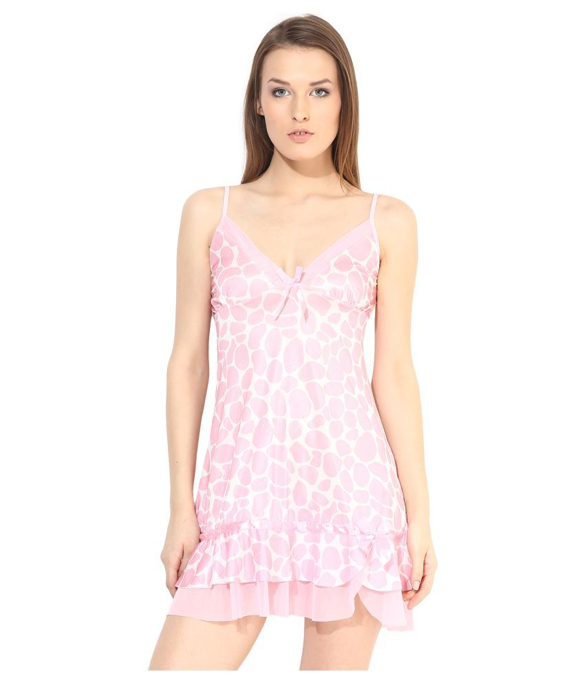 CLUB LANE Net Baby Doll Dresses With Panty - Peach