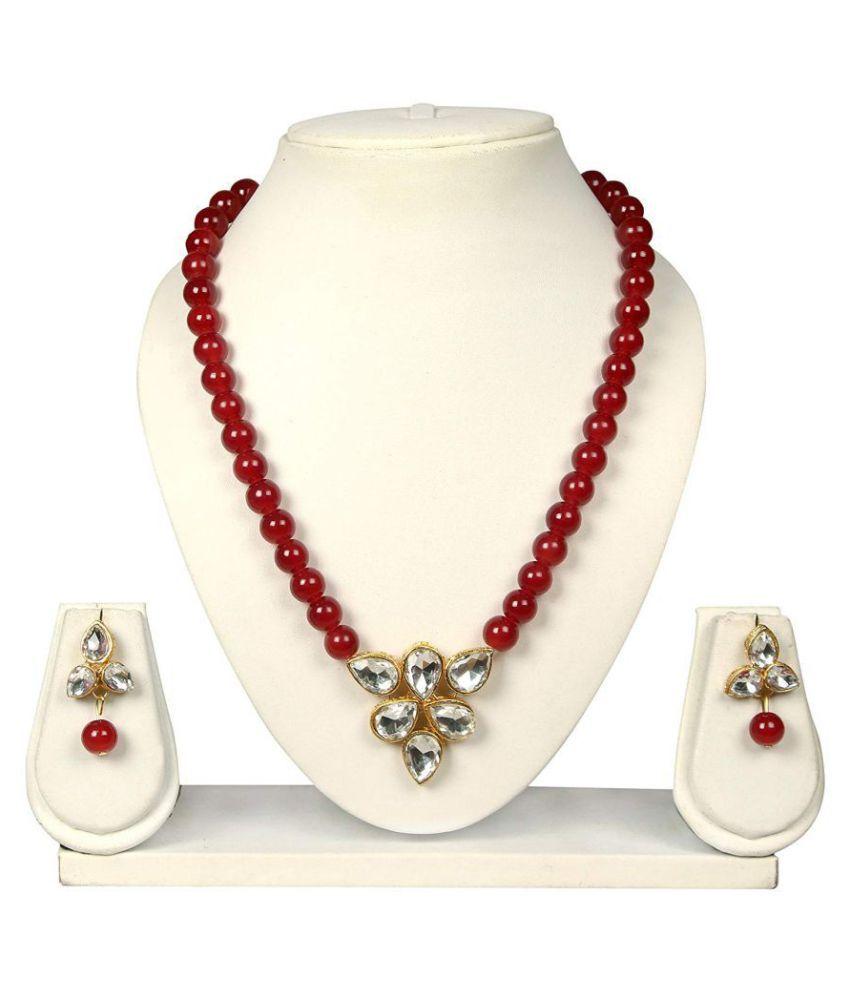 Catalyst Pearls Maroon Collar Designer Antique Necklaces Set Buy