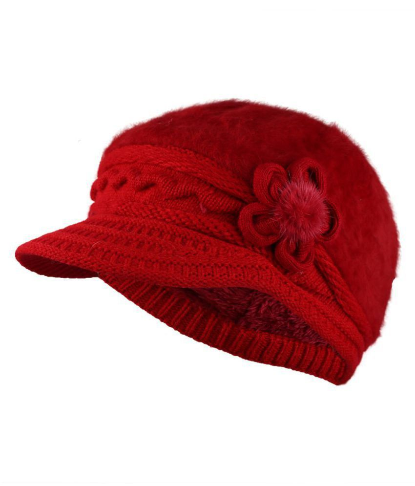 iSweven Fashionable Woolen Visor Beanie Cap For Women  2b9cb6a0e1ad