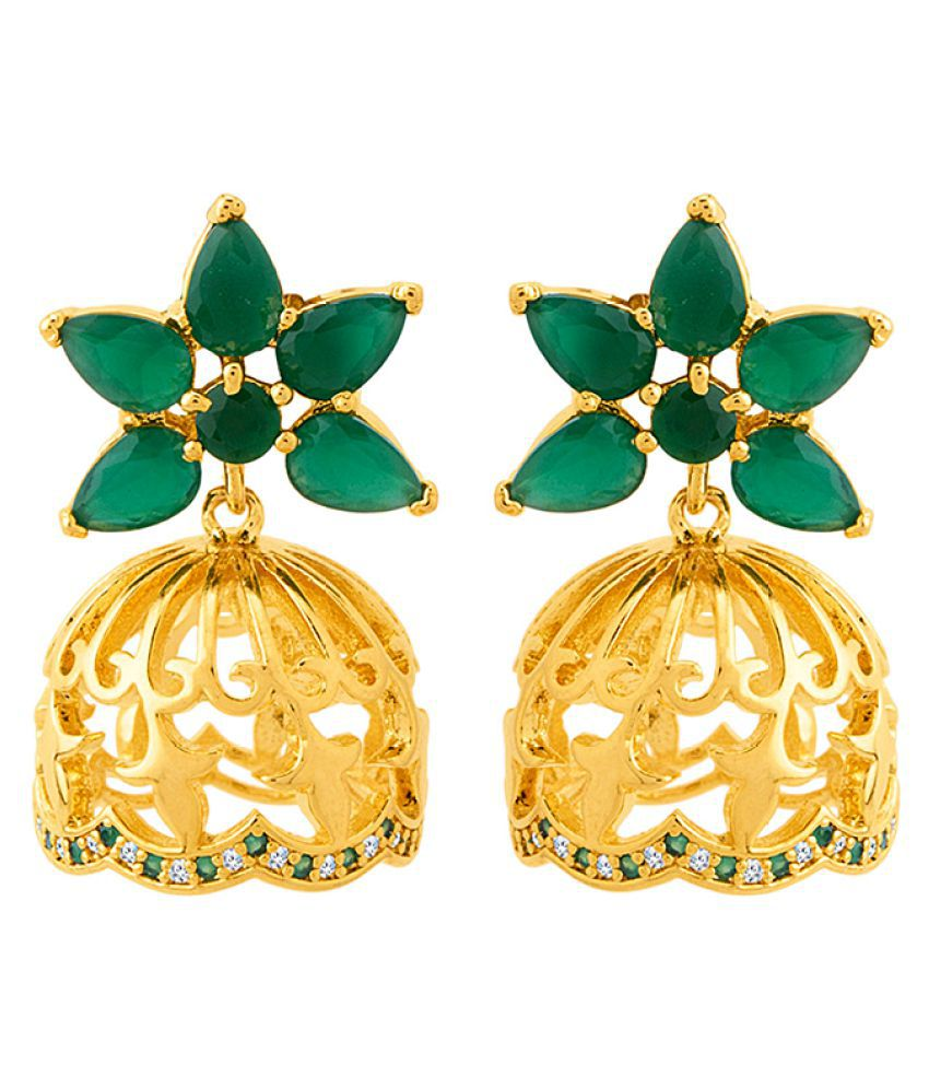 Voylla Golden Domes Floral Gold Plated Earrings