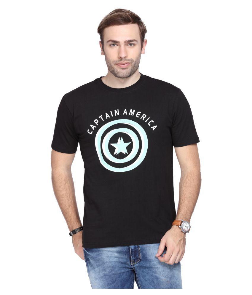 Le Bison Black Half Sleeve T-Shirt Pack of 1