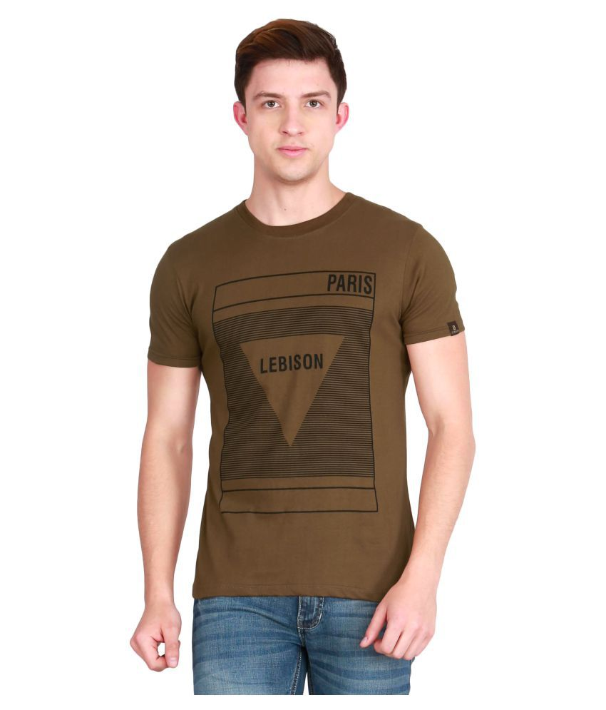 Le Bison Brown Half Sleeve T-Shirt Pack of 1