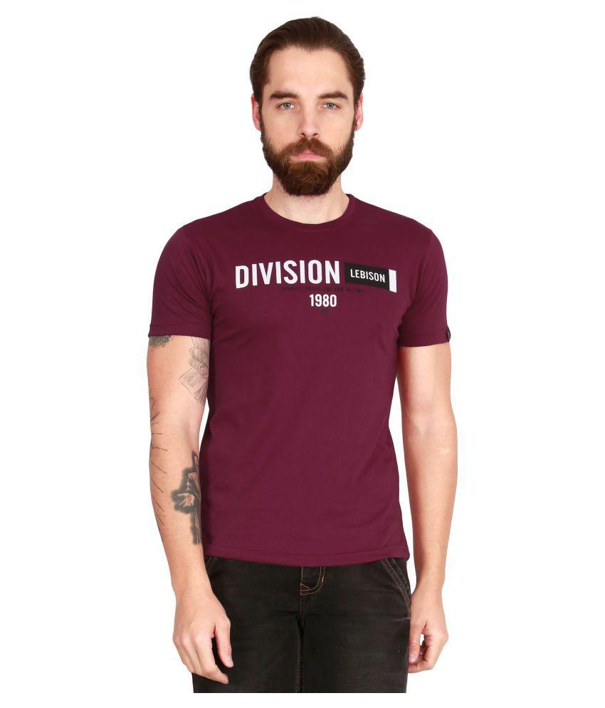 Le Bison Maroon Half Sleeve T-Shirt Pack of 1
