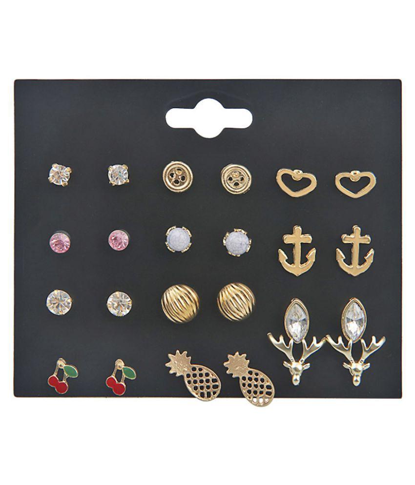 YOLO Fashion Alloy Drop Oil Elk Pineapple Love Crystal Stud Earrings Set Women Jewellry Accessories