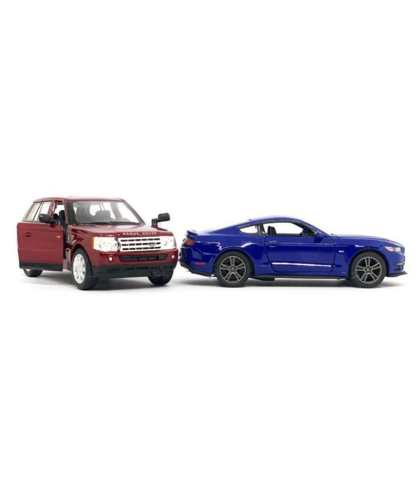 Jack Royal 1:38 Scale 2 Combo Range Rover Sport - Maroon & 2014 Ford  Mustang - (Blue) Metal Diecast Car (Color May Vary as per The Availability)