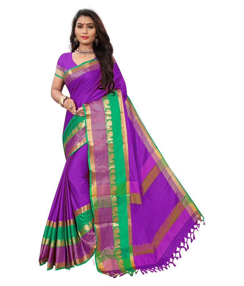 Vkaran Purple Cotton Silk Saree