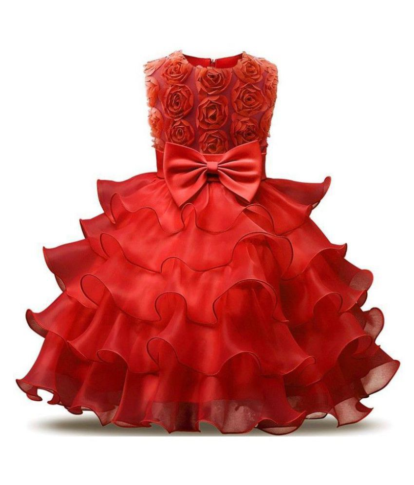 9573895af9 AVN Fashion Girls Party Dress And Birthday Frock - Red