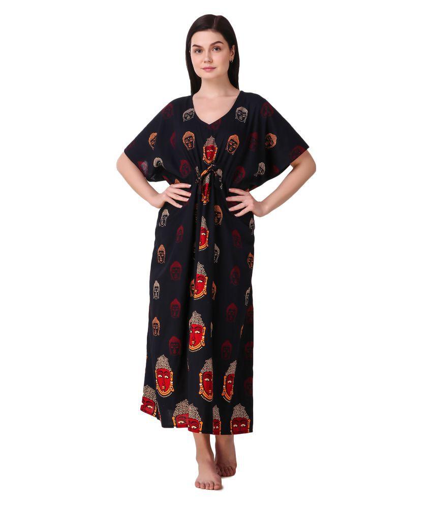 Masha Cotton Nighty & Night Gowns - Black