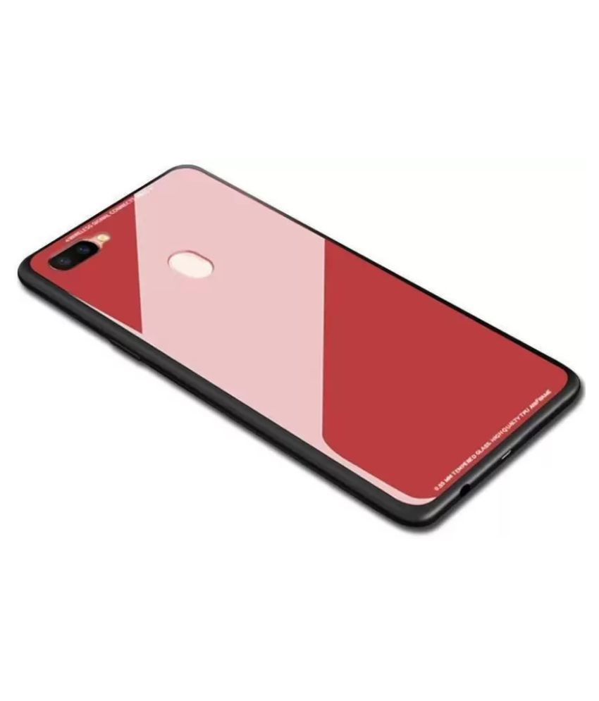 newest 2ba96 93885 Oppo A7 Glass Cover YGS - Red Original Luxurious Toughened Glass Back Case