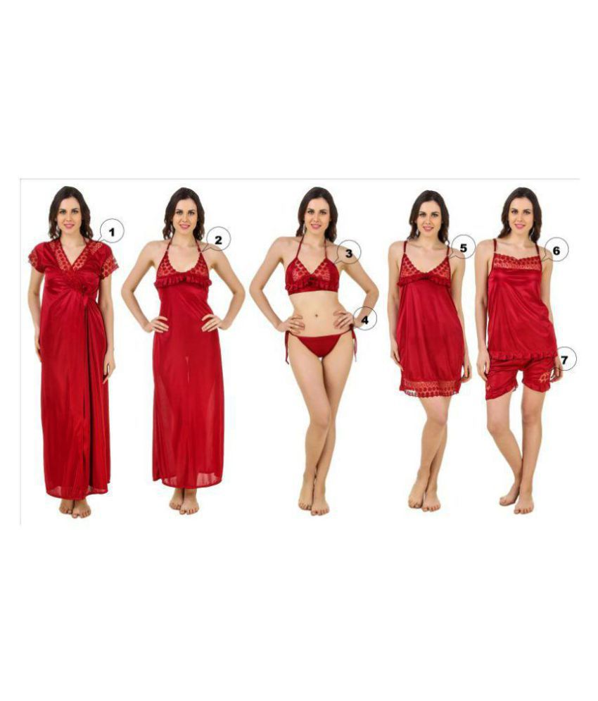 83f0cf384e Buy Freely Satin Nightsuit Sets - Maroon Online at Best Prices in India -  Snapdeal