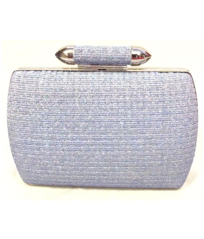 BOGA Blue Metal Box Clutch