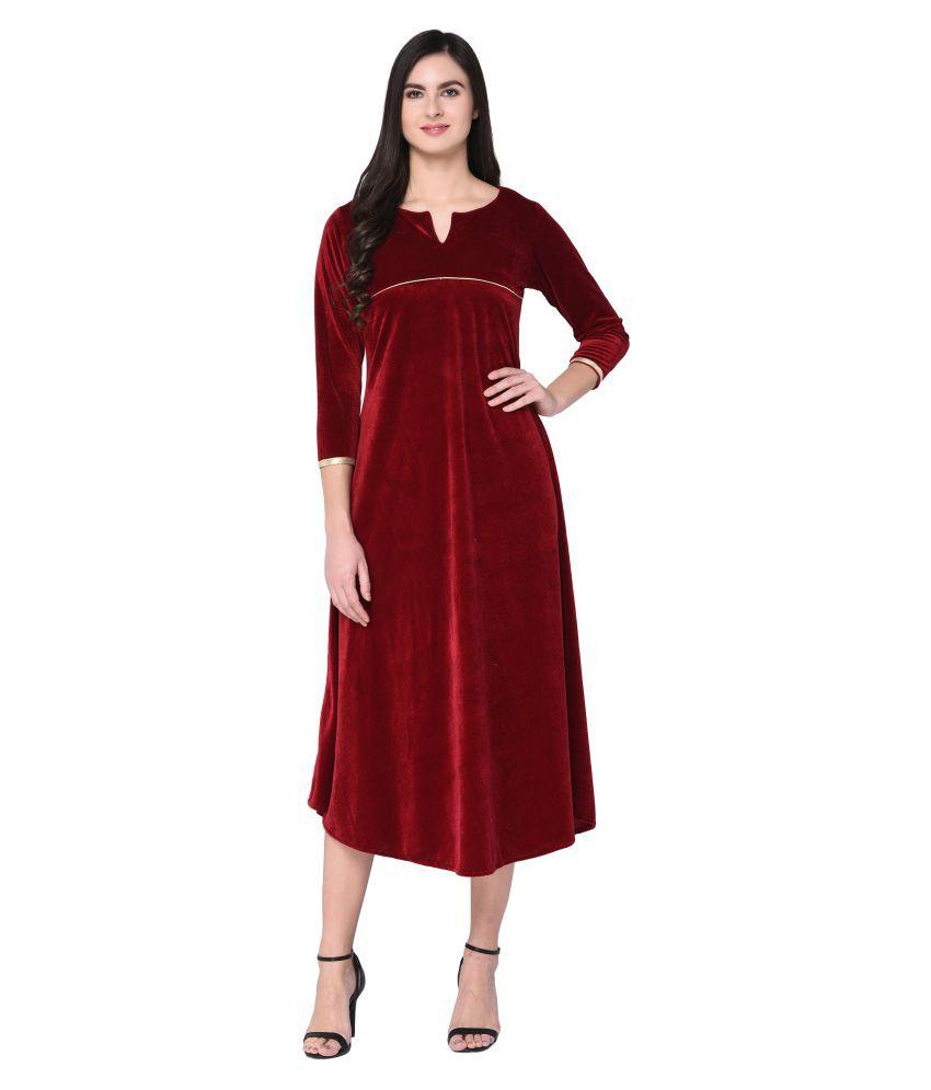 The Bebo Velvet Maroon Regular Dress