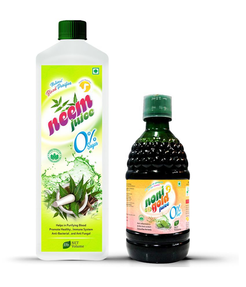 Rangelo Rajasthan Neem Juice -1000ml & Noni Gold Juice -500ml. (Combo Pack) Health Drink 1500 ml
