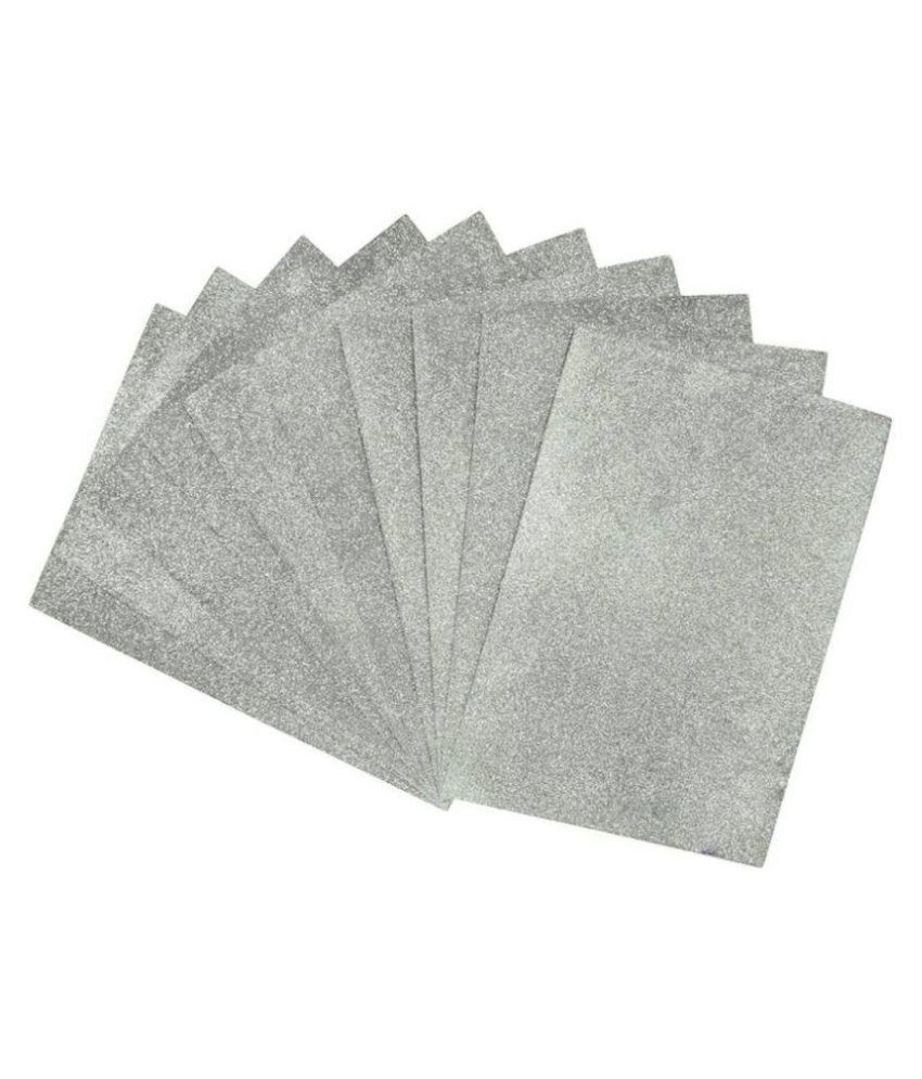 Way Beyond Self Adhesive Easy To Peel Off Glitter Eva silver Foam Sheets, A4 Size, Pack Of 10