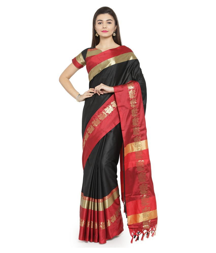 Aarrah Black Cotton Silk Saree