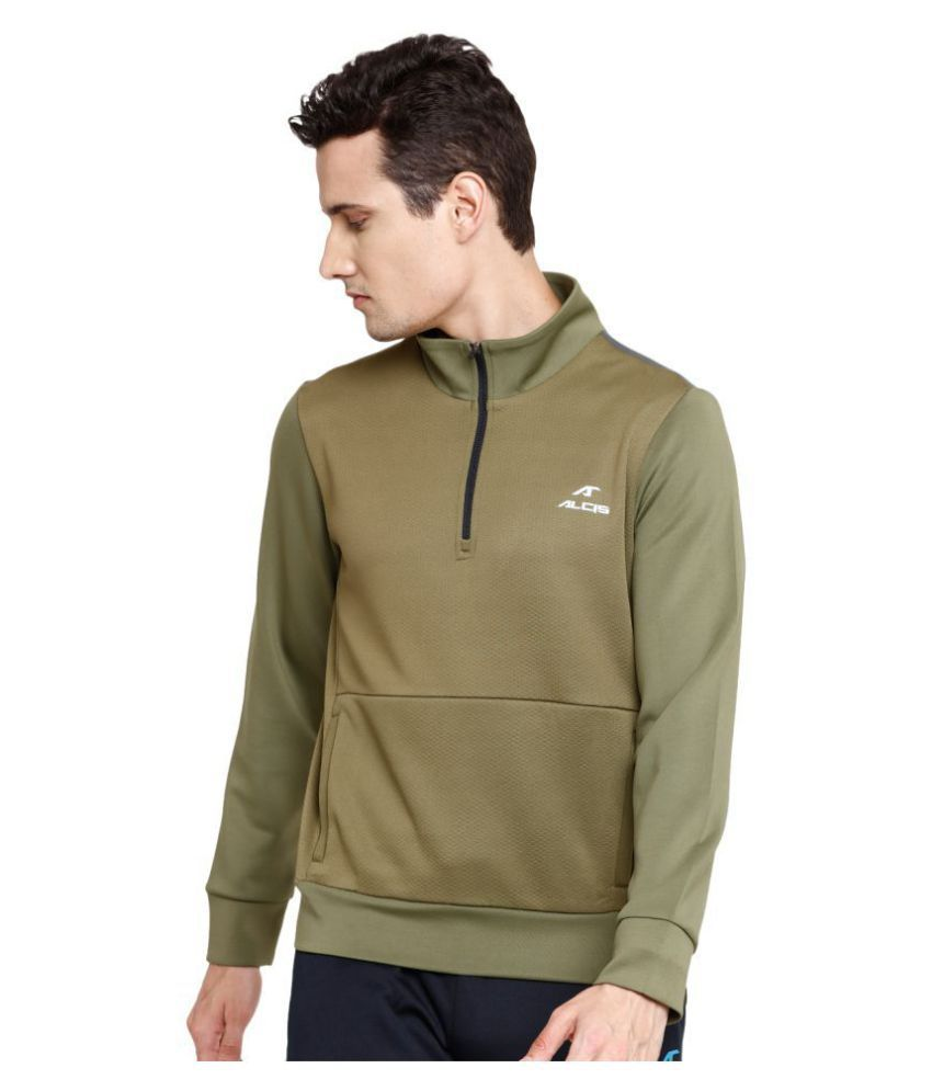 Alcis Olive Polyester Terry Sweatshirt