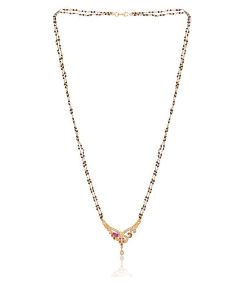 IMC DEALS 22K Gold Plated Copper Metal Double Strands Handcrafted 28-inch Mangalsutra with Black Beads for Women