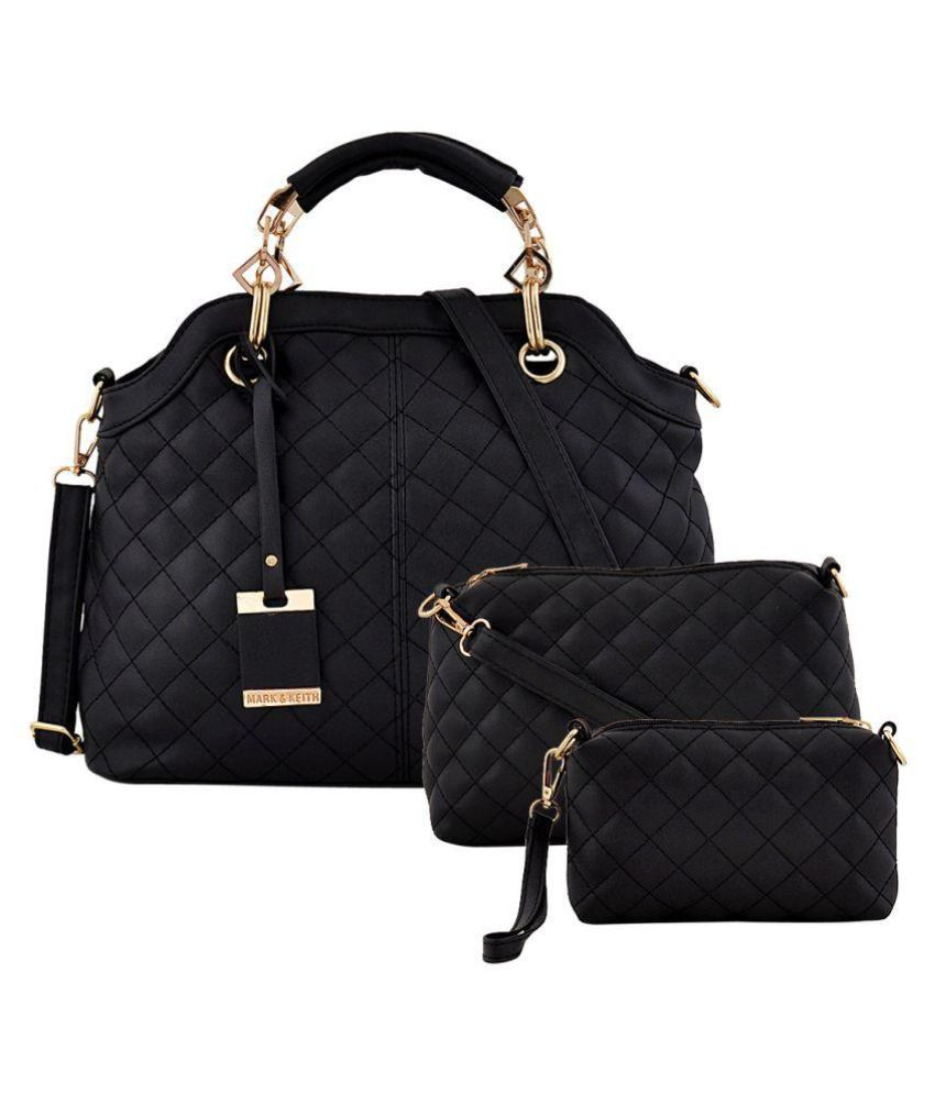 02a4f7dffc Mark   Keith Black Faux Leather Handheld handbags combo - Buy Mark   Keith  Black Faux Leather Handheld handbags combo Online at Best Prices in India  on ...