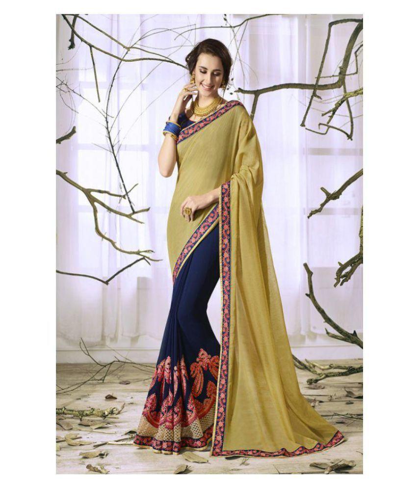 b5f4325ab SareeShop Designer SareeS Brown and Blue Silk Saree - Buy SareeShop ...