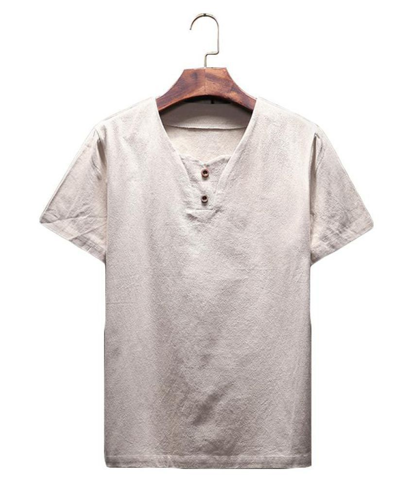 fb9b6518f3b ... Mens Summer Thin Cotton Linen Solid Color Short Sleeve Casual T Shirts  ...