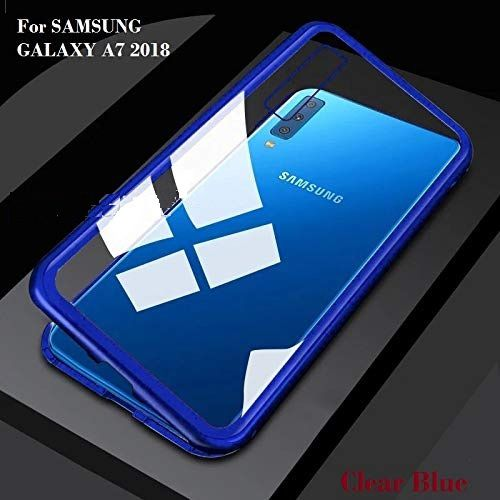 buy popular 4c714 7ead8 Samsung Galaxy A7 2018 Magnetic Cover Case YGS - Blue Original Magnetic  Metal Bumper Glass Back Case