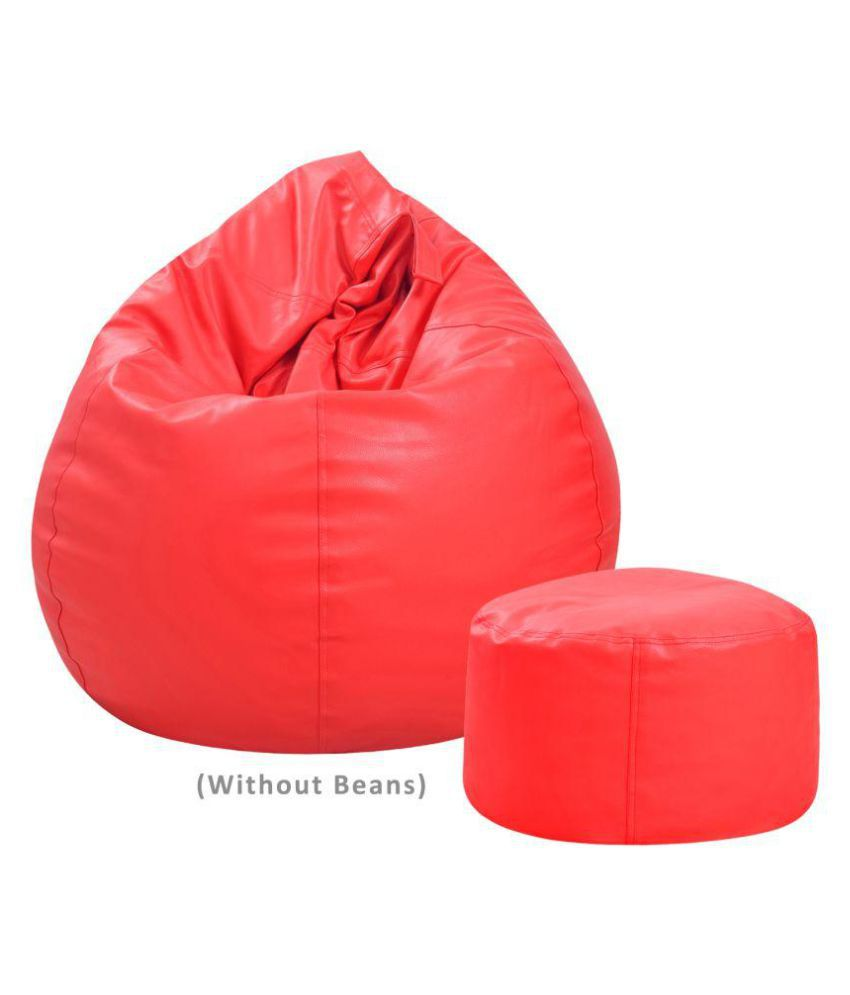 Couchette Combo offer Bean Bag Cover with Footrest Without Beans- XXL Size- Red (Only Cover- Fillers NOT Included)