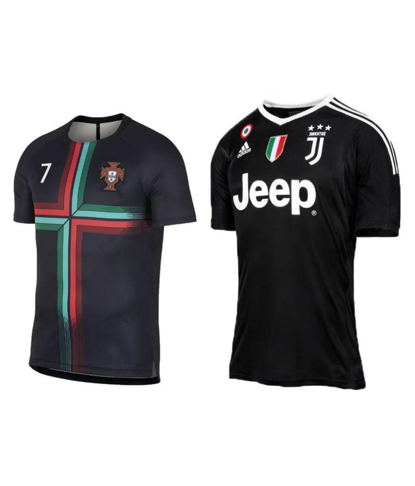innovative design d4cac e5fbc uniq kids football ronaldo jersey portugal black & Juventus Black top