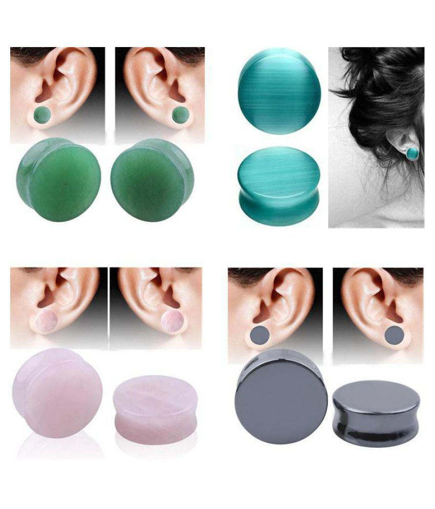 1PC Natural Organic Stone Ear Plugs Tunnels Double Flared Piercing Earrings Ear Gauges 12mm