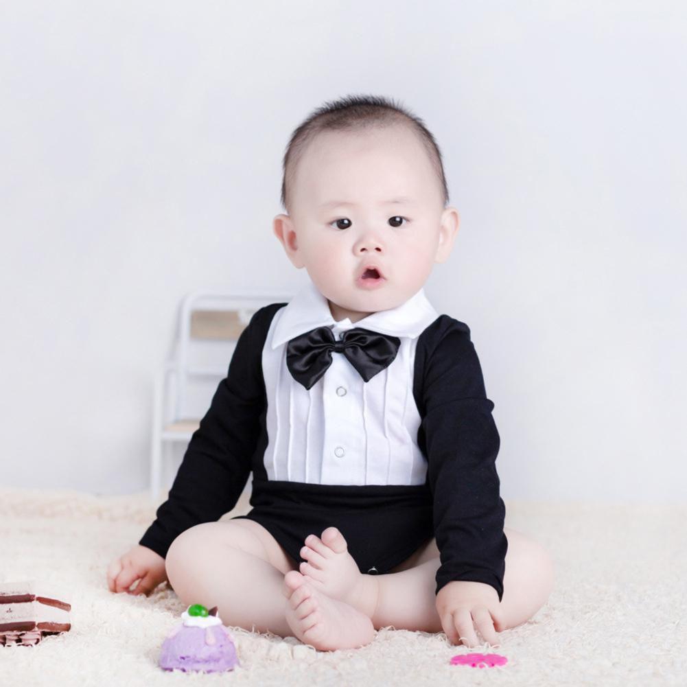 f88c25cec5c75 Fashion Bow Tie Long Sleeve Infant Baby Boys Cotton Romper Jumpsuit ...