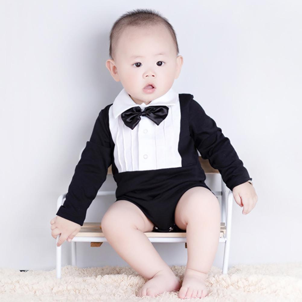 74a7c28ab37 ... Fashion Bow Tie Long Sleeve Infant Baby Boys Cotton Romper Jumpsuit  Clothes ...