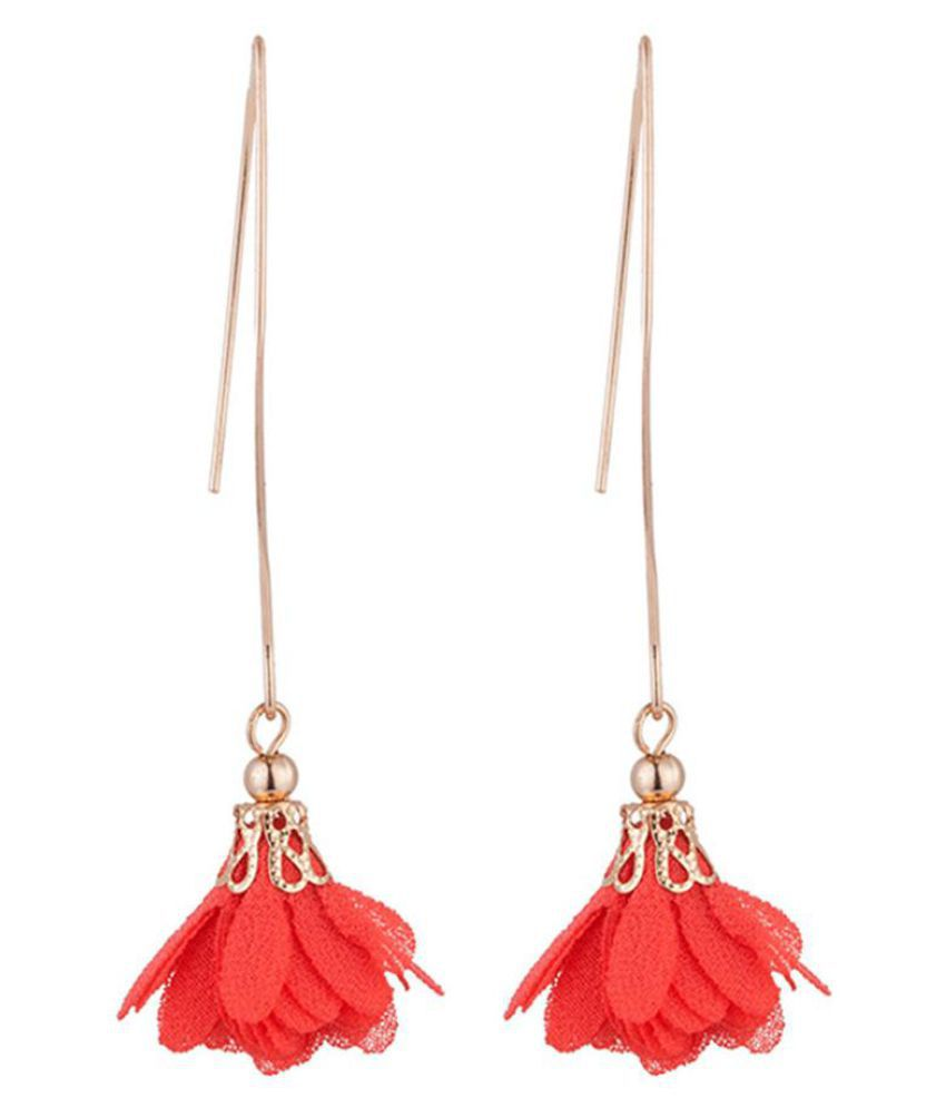 Women Long Dangle Flower Earrings Wedding Party Banquet Vintage Piercing Jewelry