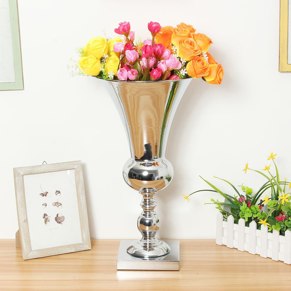 50cm Silver Plate Vase Large Flower Arrangement Urn Wedding Banquet Party Home Buy 50cm Silver Plate Vase Large Flower Arrangement Urn Wedding Banquet Party Home Online At Low Price Snapdeal
