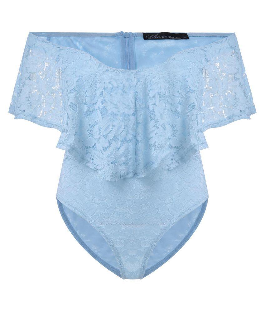 Auxo Women Romper Off Shoulder Lace Floral Ruffle Bodysuit Short Sleeve Jumpsuits Leotard Summer Top
