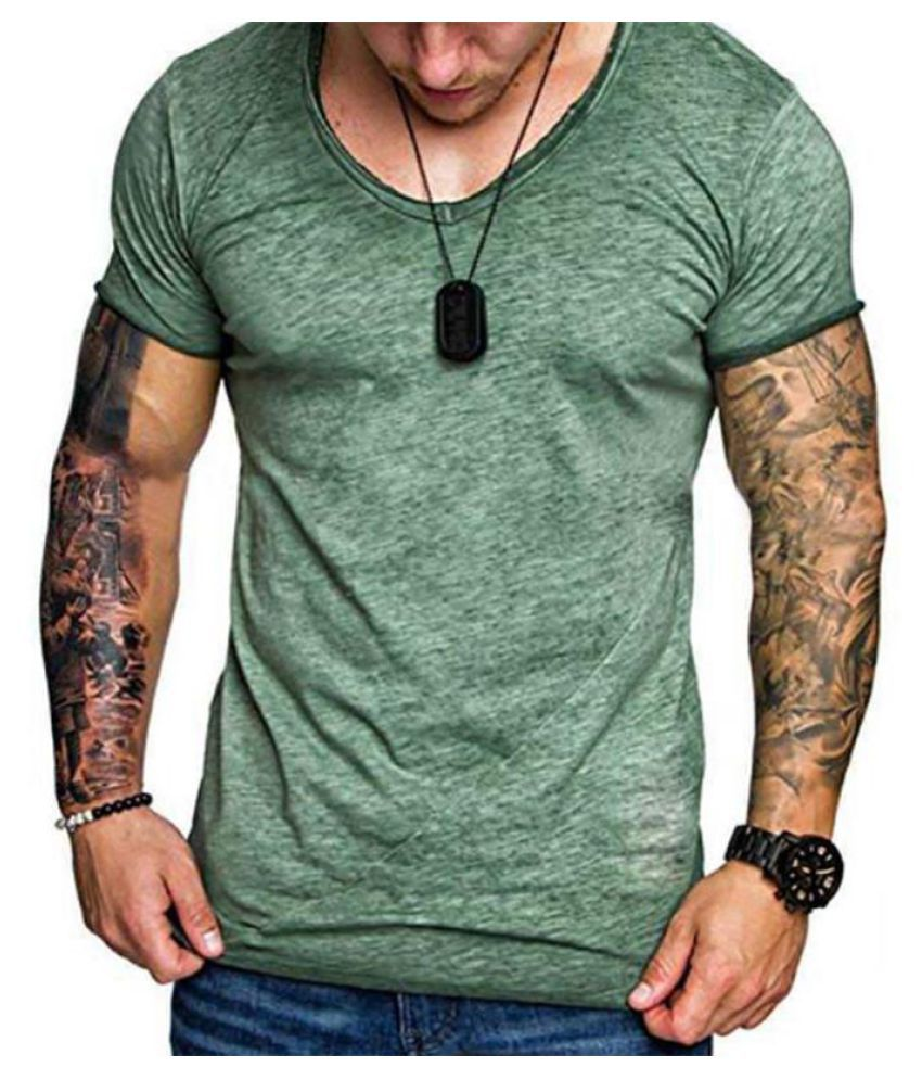 Mens Summer Breathable Solid Color Basic Casual T Shirts