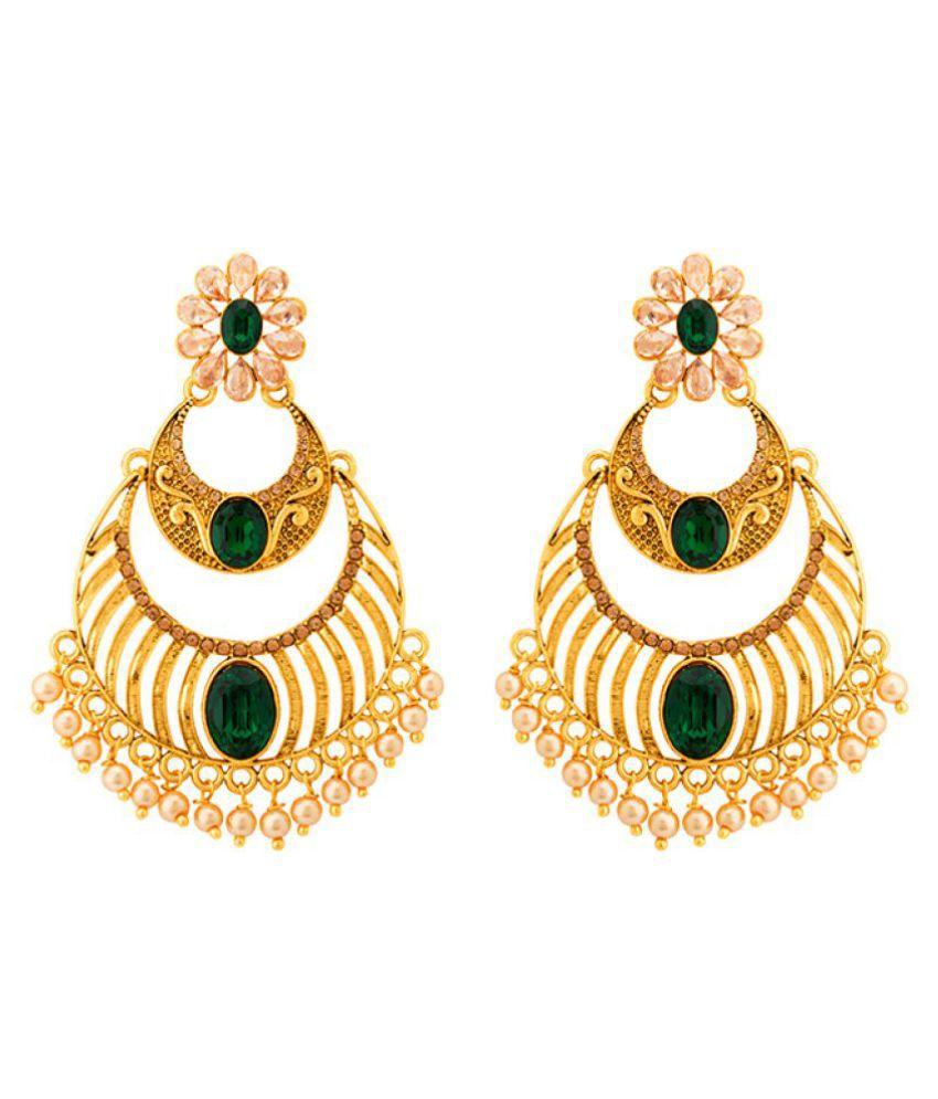 Voylla Green Stone Chandbali Earrings Embellished with Pearls