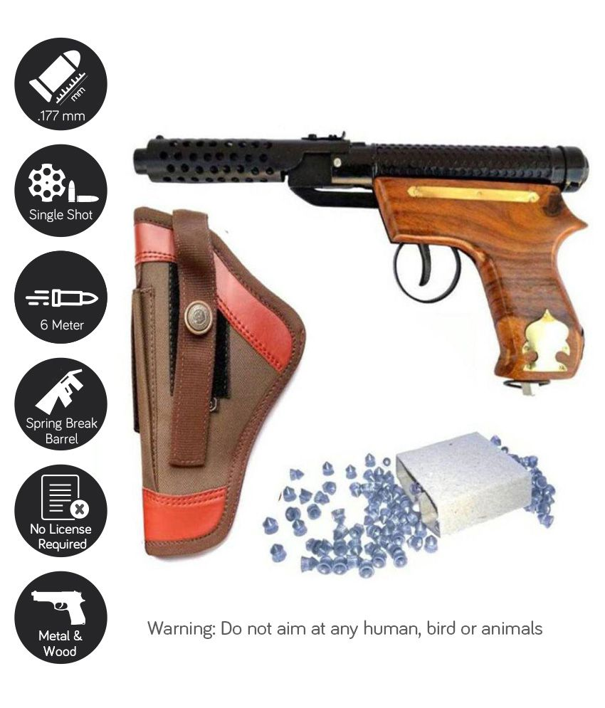Dynamic Mart Bullet PubG Mark-2 Wooden Air Gun with free cover & 100 Pallets