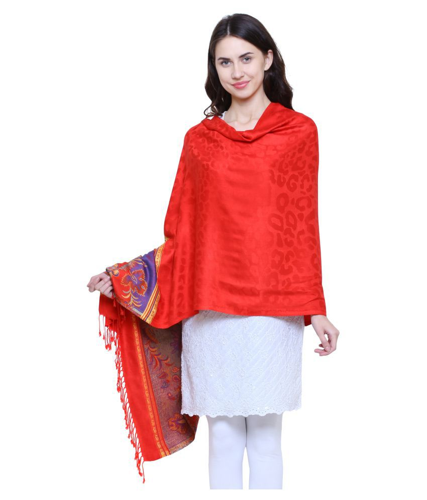 Anekaant Red Woven Shawl