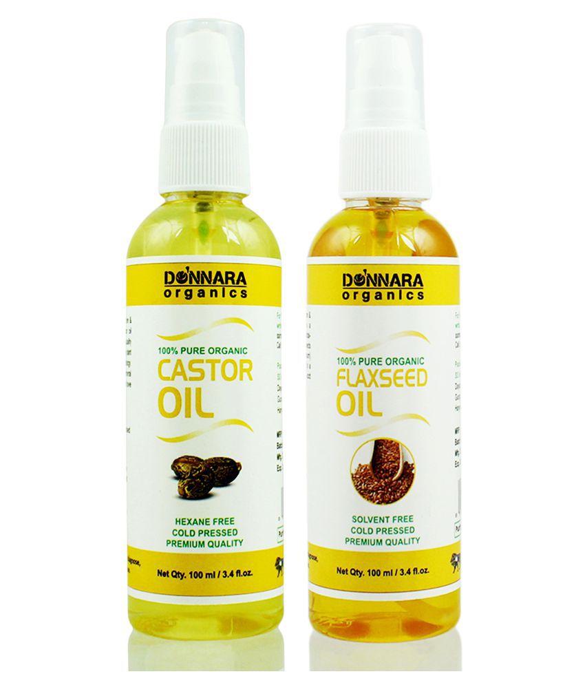 Donnara Organics 100% Pure Castor oil & Flaxseed oil 200 ml Pack of 2