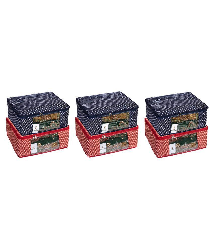 f3e5dba5aff3 Kuber Industries Cotton 6 Pcs Hathkadi Print Saree Cover (Red & Dark Blue)  CTKTC2025