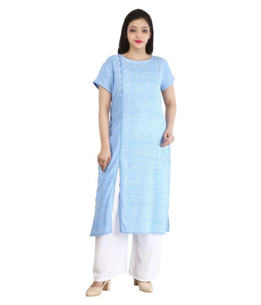 RS Collection Blue Cotton Front Slit Kurti