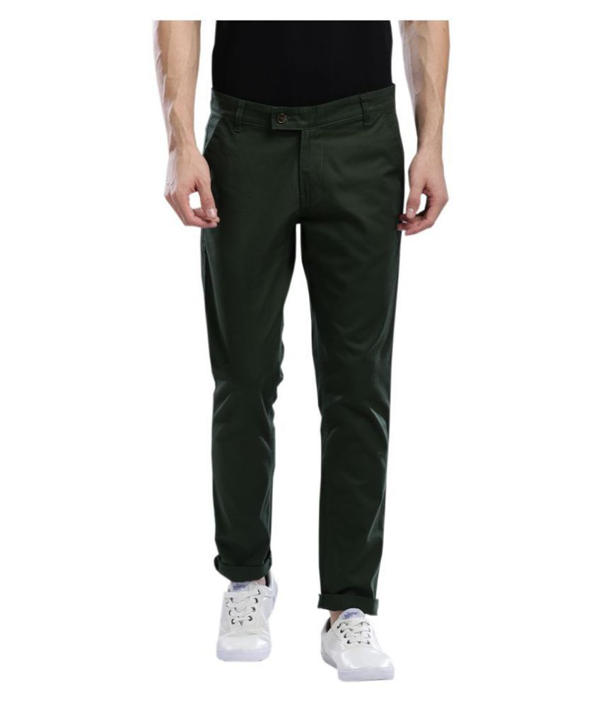 Hubberholme Green Slim -Fit Flat Chinos