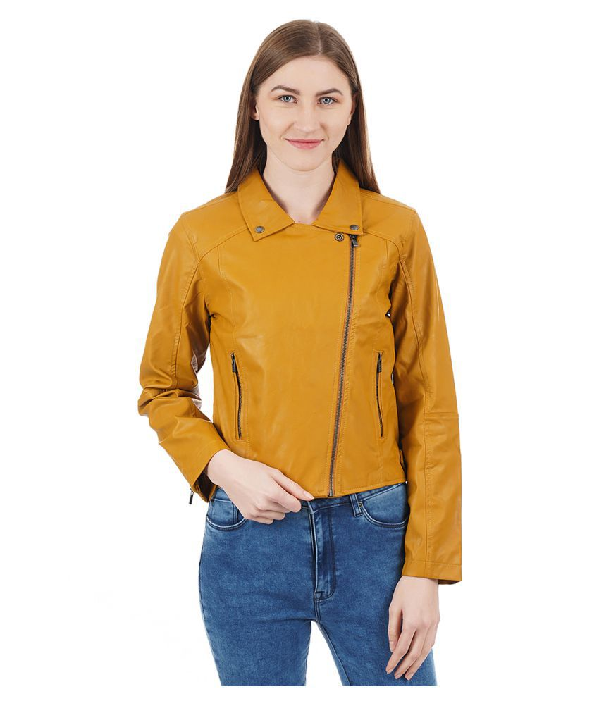 timeless design 817ce 1e7d7 Pepe Jeans Pu Leather Yellow Biker