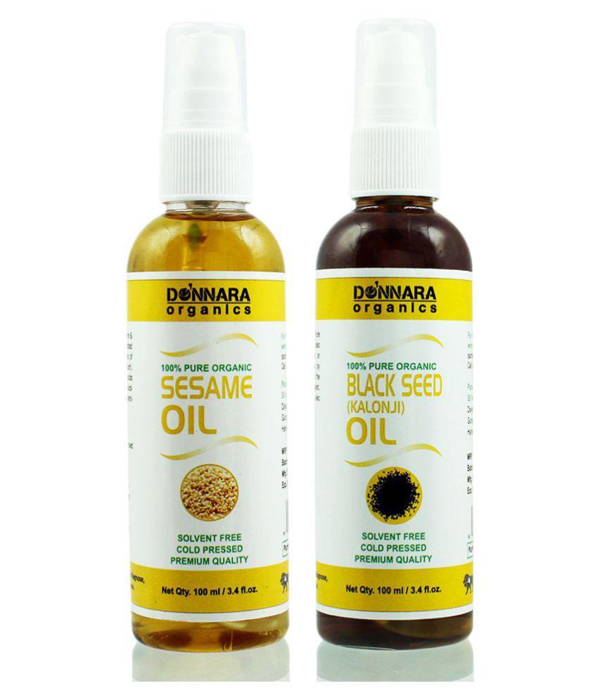 Donnara Organics 100% Pure Sesame oil & Blackseed oil 200 ml Pack of 2