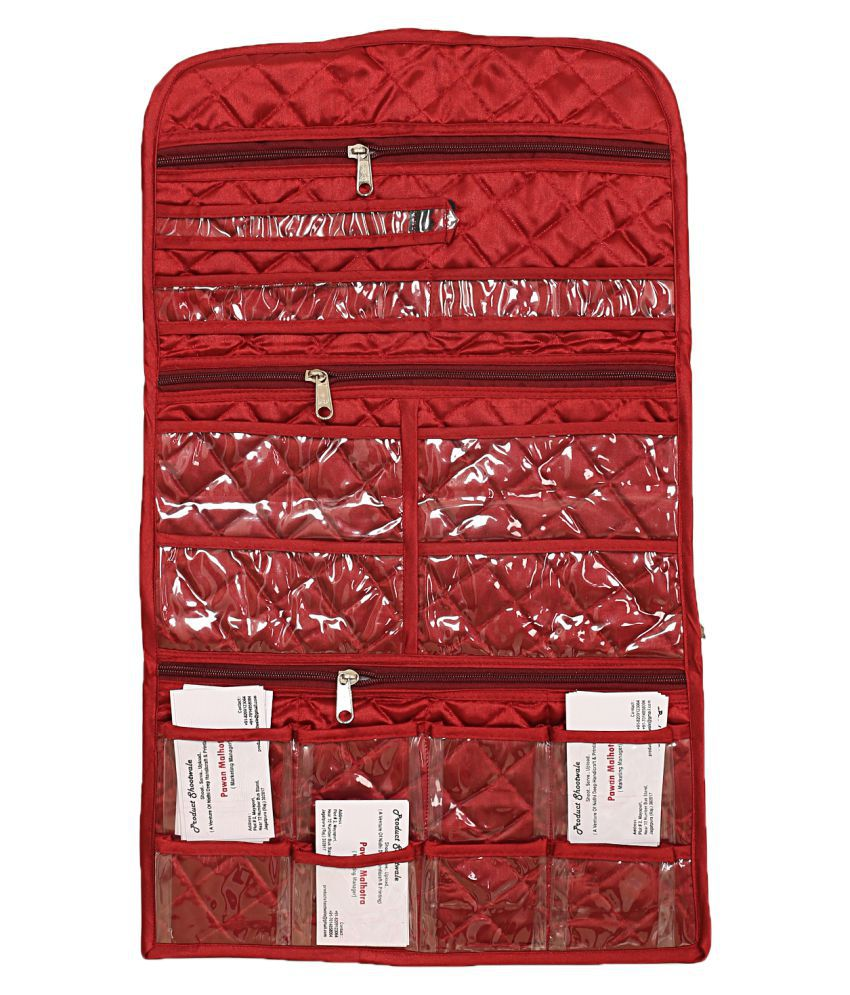 Kuber Industries Wall Hanging For Make up Accessories/Document/Card Organiser (Maroon)