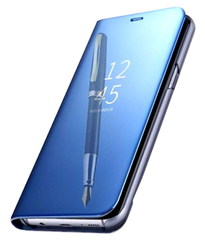 Samsung Galaxy J4 Flip Cover by Doyen Creations - Blue Blue Clear View  Mirror Flip Case With Media Stand