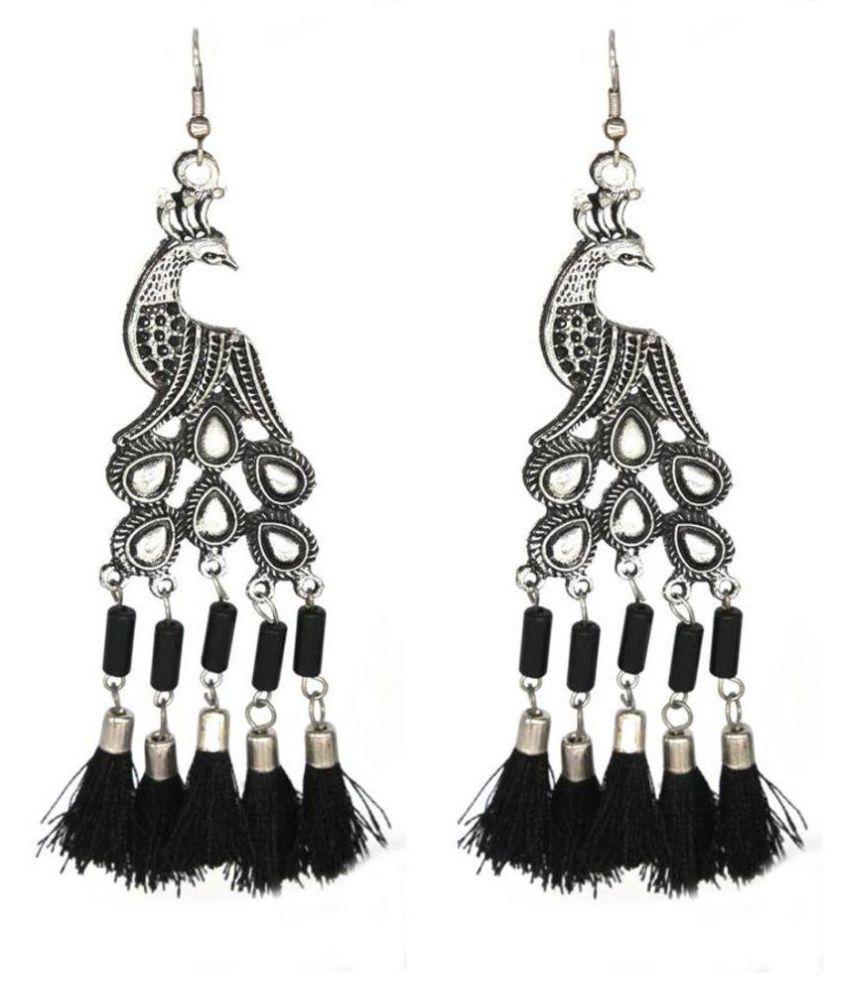 Oxidise  Peacock Hanging Earring
