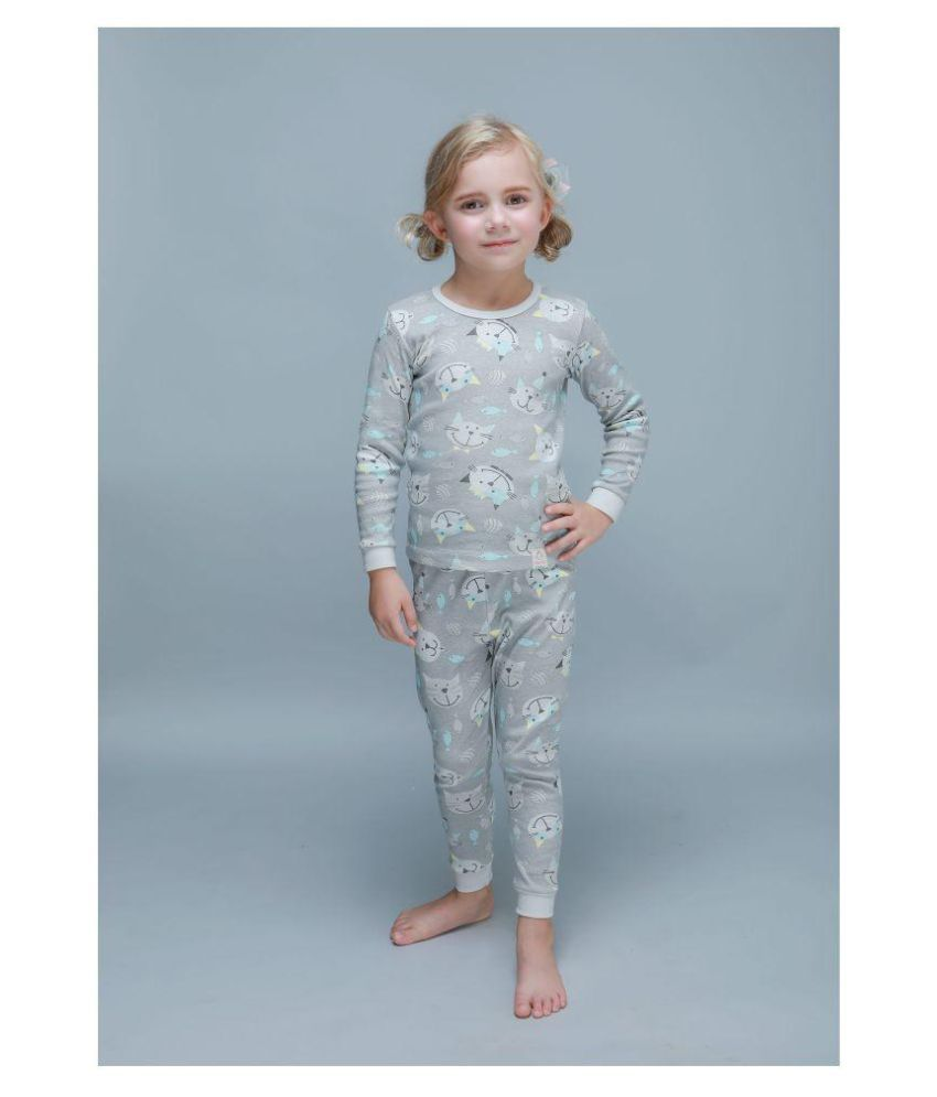 Candy Baby Round Neck Happy Cat Winter Thermal Set of Top & Trouser /Thermal for Boys and Girls Made in Korea