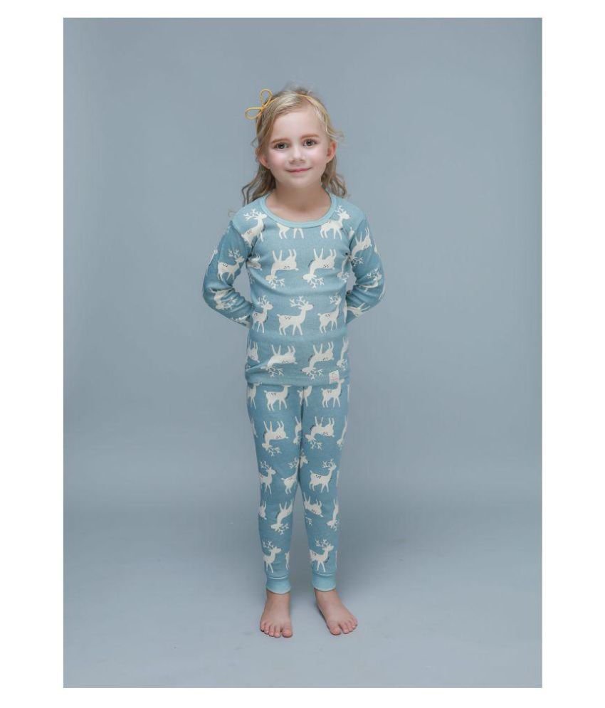 Candy Baby Round Neck Rudolph Winter Thermal Set of Top & Trouser /Thermal for Boys and Girls Made in Korea