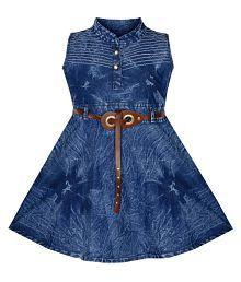 BENKILS Cute Fashion Girl's Infant Denim Party Wear Frock Dress